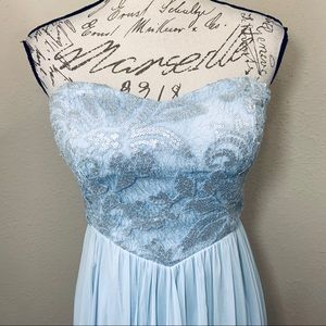 Teeze Me Dresses - Cinderella Blue Lace High Low Prom Formal Dress